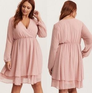 Torrid blush pink chiffon swiss dot textured dress